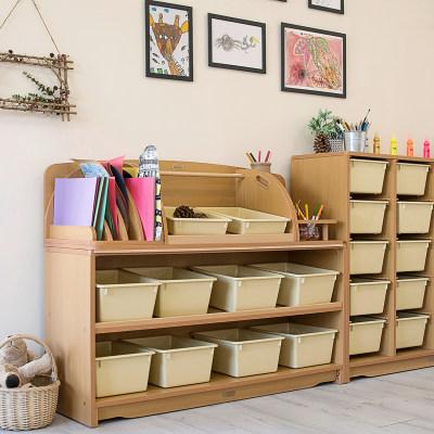 创意组合斜层板柜配收纳盒(124cm)