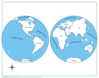 世界地图指示卡